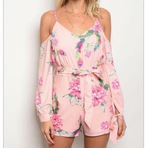 Pants - Long Sleeve Blush Floral Romper